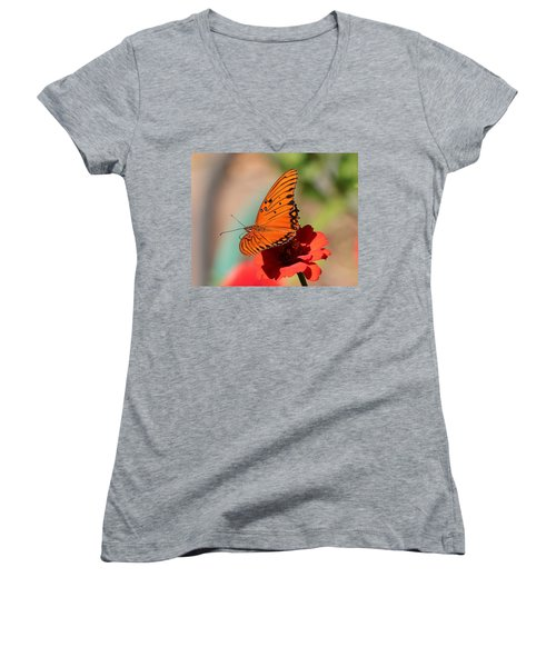 Zinnia With Butterfly 2669 Women's V-Neck