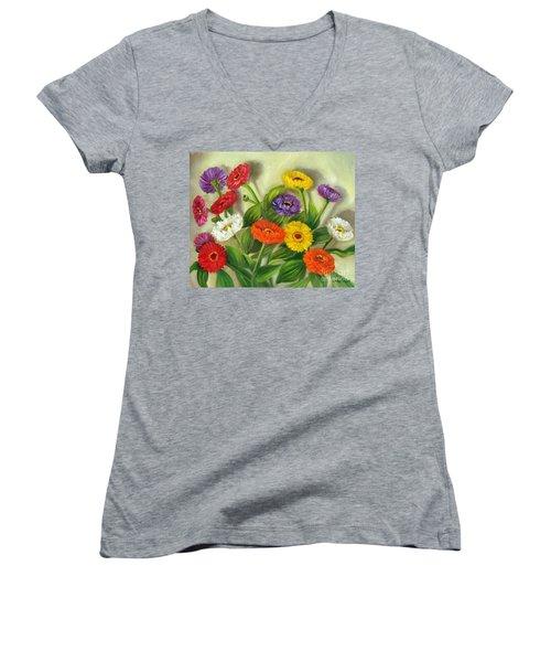 Zinnias Women's V-Neck T-Shirt (Junior Cut) by Randy Burns