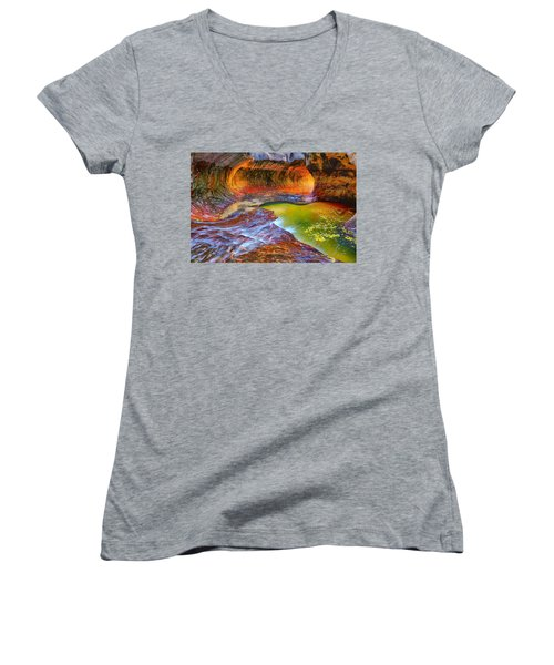 Zion Subway Women's V-Neck T-Shirt (Junior Cut) by Greg Norrell