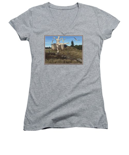 Zombie Near The Ruins Women's V-Neck (Athletic Fit)