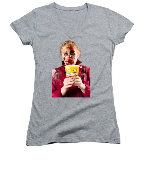 Zombie Woman Watching Scary Movie With Popcorn Women's V-Neck