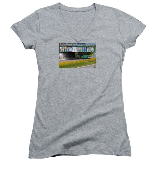 Women's V-Neck T-Shirt (Junior Cut) featuring the photograph Zoo Mural by Michiale Schneider