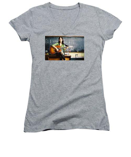 Zooey Deschanel Women's V-Neck T-Shirt