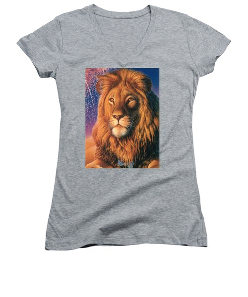 Zoofari Poster The Lion Women's V-Neck T-Shirt (Junior Cut) by Hans Droog