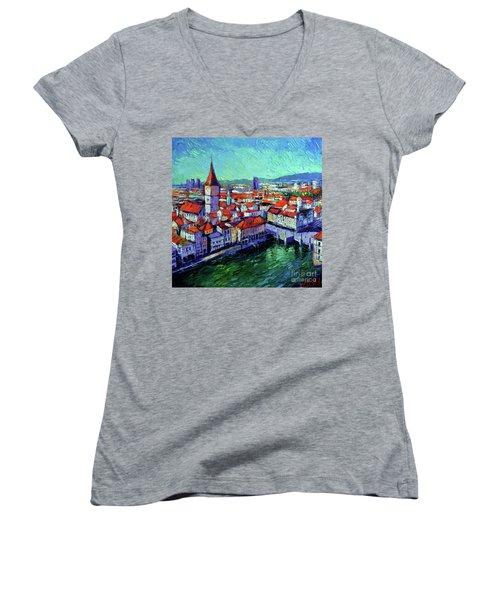 Zurich View Women's V-Neck T-Shirt