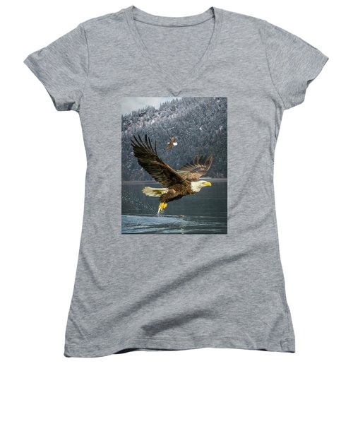 Bald Eagle With Catch Women's V-Neck