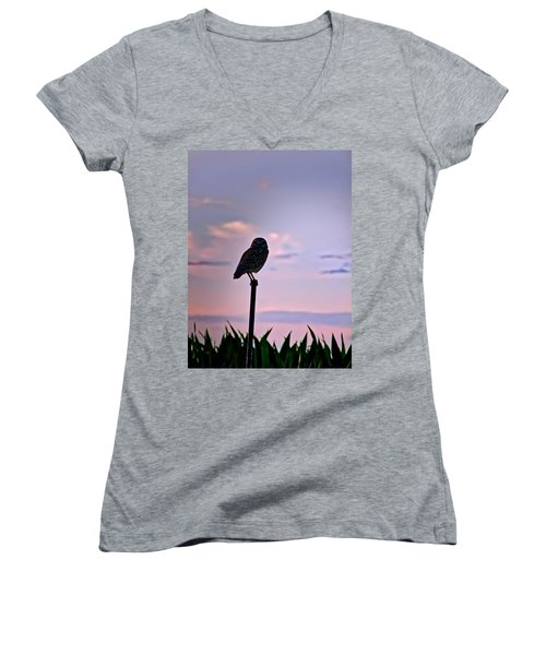 Burrowing Owl On A Stick Women's V-Neck