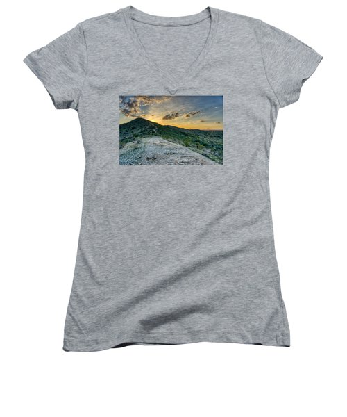 Dramatic Mountain Sunset  Women's V-Neck