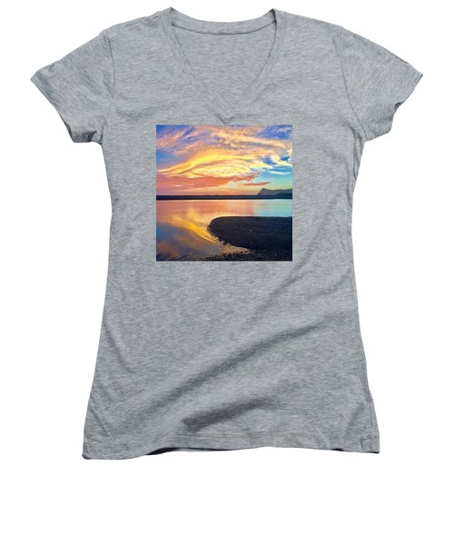 Women's V-Neck featuring the mixed media Infinite Possibility by Passion Give