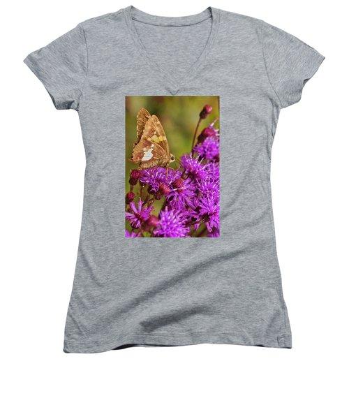 Moth On Purple Flowers Women's V-Neck