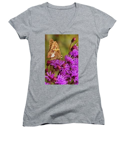 Moth On Purple Flowers Women's V-Neck