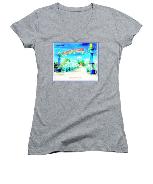 Pleasure Island Sign And Walkway Downtown Disney Women's V-Neck