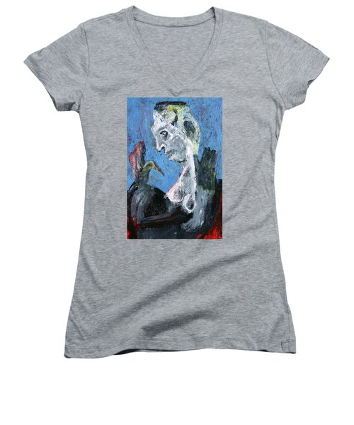 Portrait With A Bird Women's V-Neck