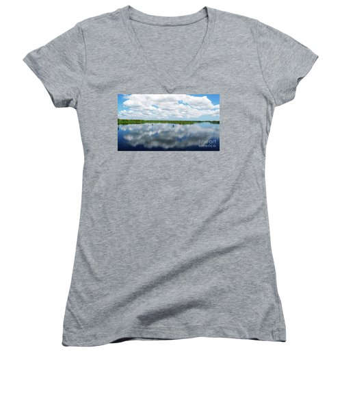 Skyscape Reflections Blue Cypress Marsh Near Vero Beach Florida C6 Women's V-Neck