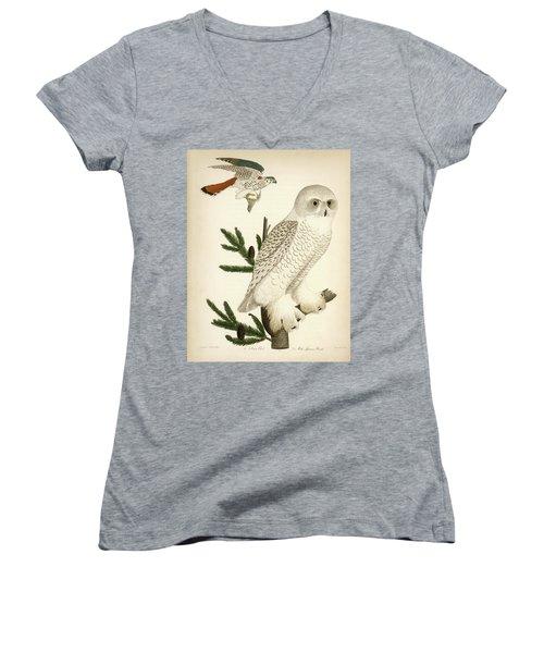 1. Snow Owl. 2. Male Sparrow-hawk. Women's V-Neck