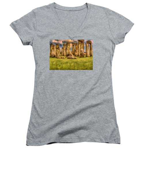 Women's V-Neck featuring the painting Stonehenge by Harry Warrick