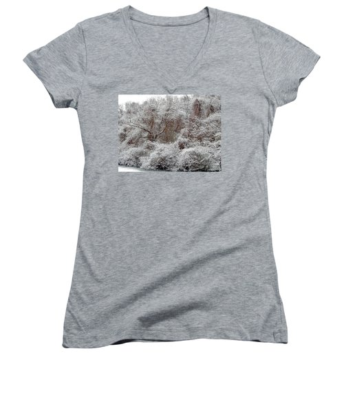 Women's V-Neck featuring the photograph The Forest Hush by Lynda Lehmann