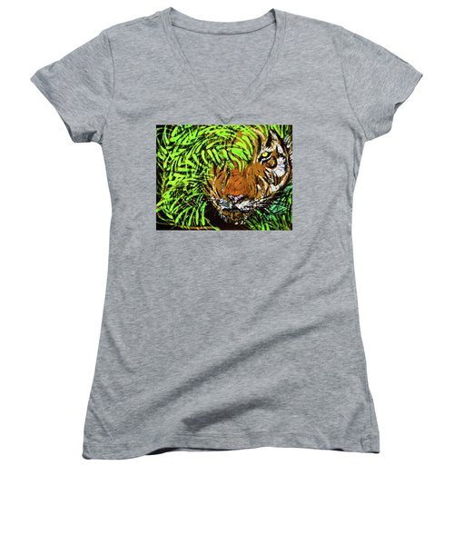 Tiger In Bamboo Women's V-Neck