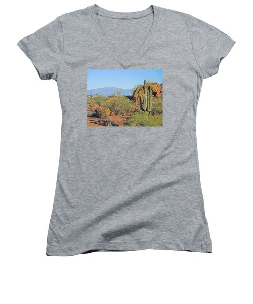 Women's V-Neck featuring the photograph View To Four Peaks  by Lynda Lehmann