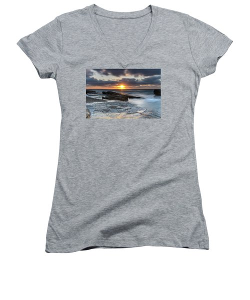 A Moody Sunrise Seascape Women's V-Neck