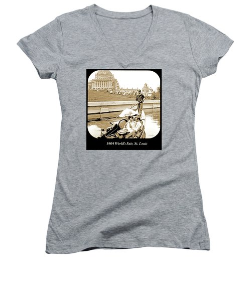 1904 Worlds Fair, Sighteeing Boat, Oarsman And Couple Women's V-Neck