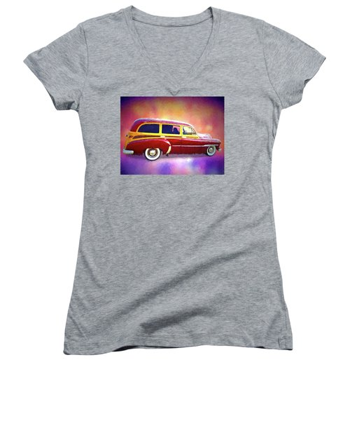 1951 Chevy Woody Sideview Women's V-Neck
