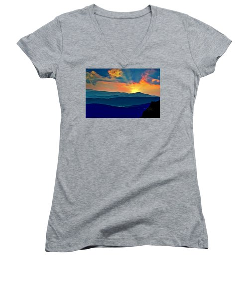 Blue Ridge Mountains Sunset Women's V-Neck