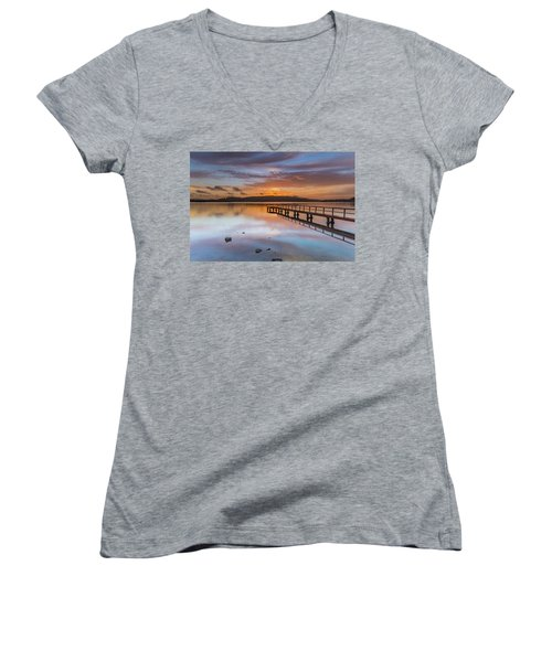 Early Morning Clouds And Reflections On The Bay Women's V-Neck