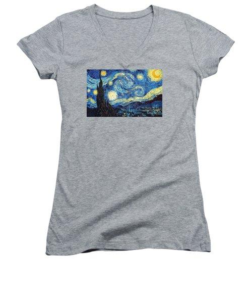 Starry Night By Van Gogh Women's V-Neck