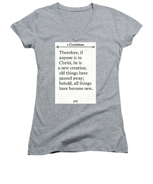 2 Corinthians 5 17 - Inspirational Quotes Wall Art Collection Women's V-Neck