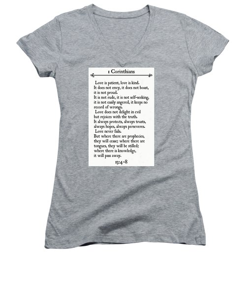 1 Corinthians 13 4-8- Inspirational Quotes Wall Art Collection Women's V-Neck