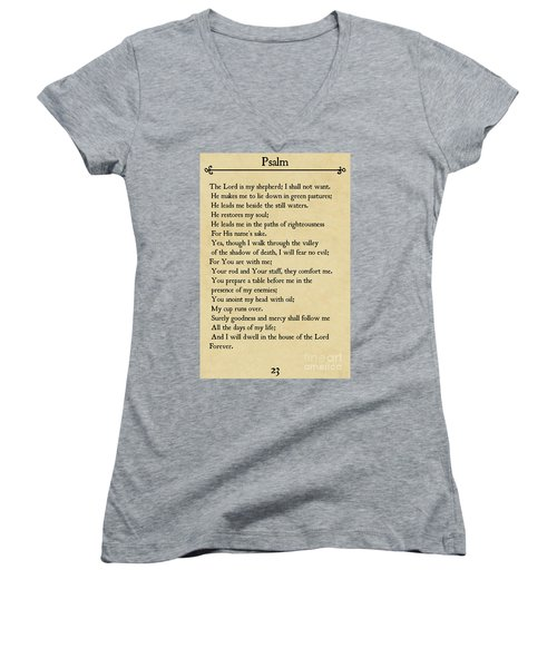 Psalm 23-bible Verse Wall Art Collection Women's V-Neck