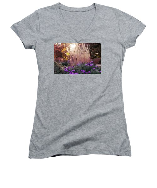 A Flower Bed In The Autumn Park Women's V-Neck