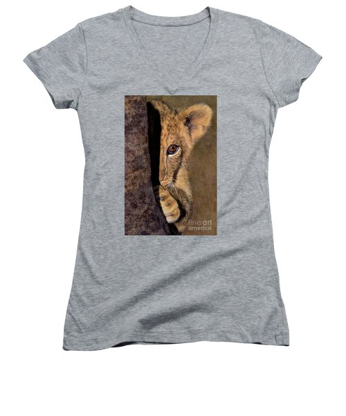 A Lion Cub Plays Hide And Seek Wildlife Rescue Women's V-Neck
