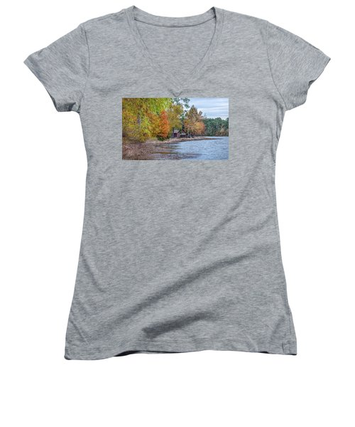 A Peaceful Place On An Autumn Day Women's V-Neck