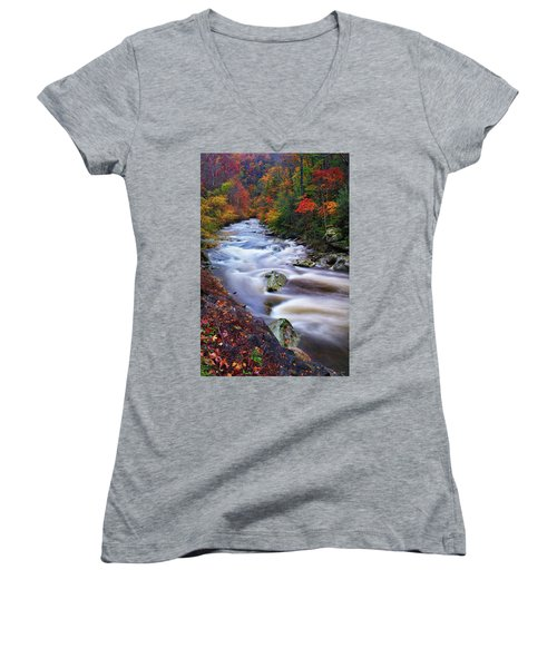 A River Runs Through Autumn Women's V-Neck