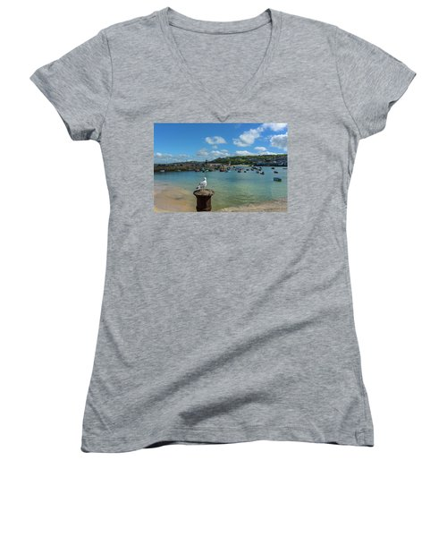 A Seagull Dreaming At The Harbour Women's V-Neck