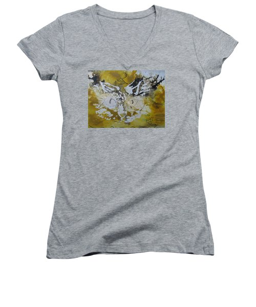 Abstract Cat Face Yellows And Browns Women's V-Neck