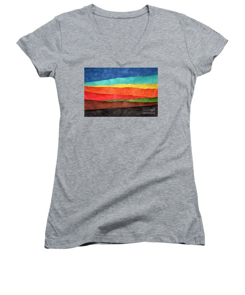 Abstract Landscape Created With Handmade Paper Women's V-Neck