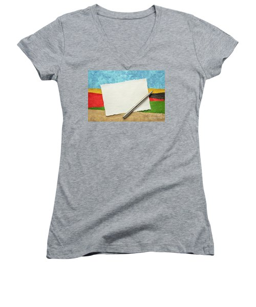 Abstract Landscape With A Blank Note Women's V-Neck