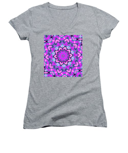 Abstract Spun Flower Women's V-Neck