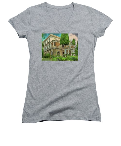 Women's V-Neck featuring the photograph Achilleion Palace Corfu by Leigh Kemp