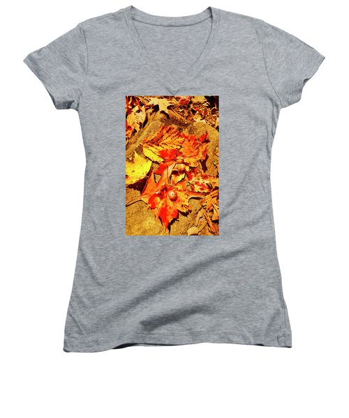 Acorns Fall Maple Oak Leaves Women's V-Neck