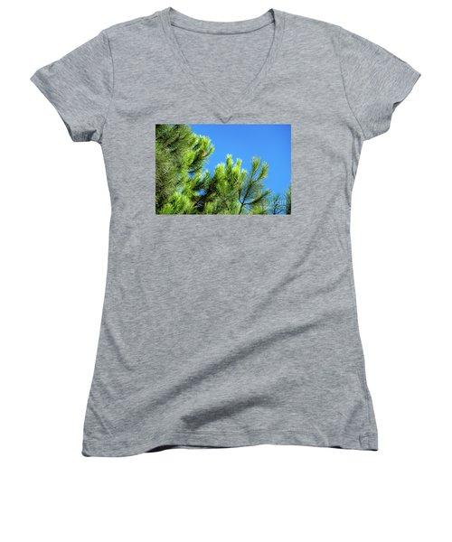 Adriatic Pine Against Blue Sky  Women's V-Neck