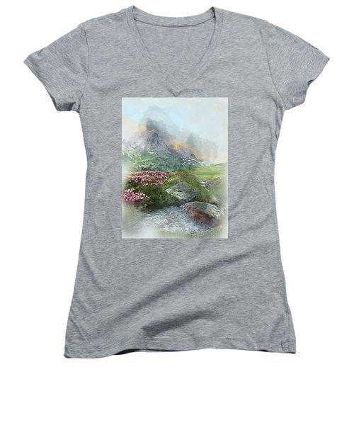 Afternoon Light In The Alps II Women's V-Neck