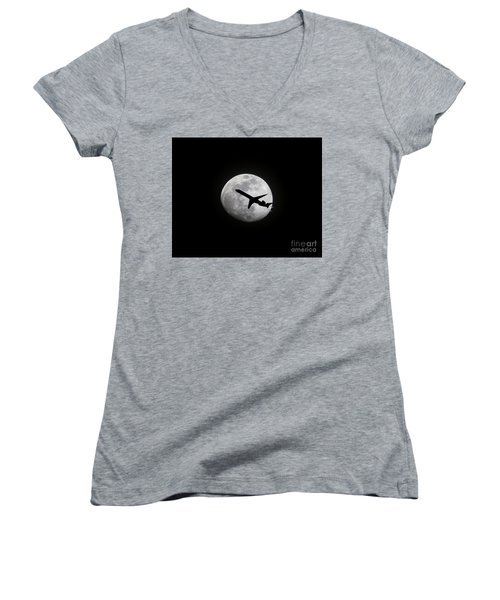 Airliner Passing In Front Of A Full Moon Women's V-Neck