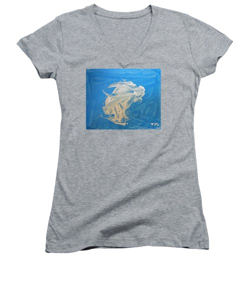 Angel And Dolphin Riding The Waves Women's V-Neck