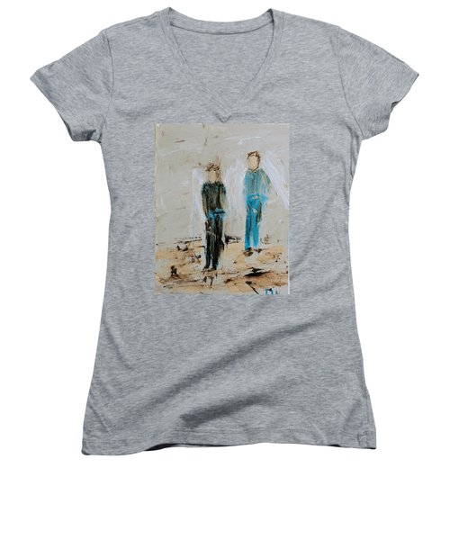 Angel Boys On A Dirt Road Women's V-Neck