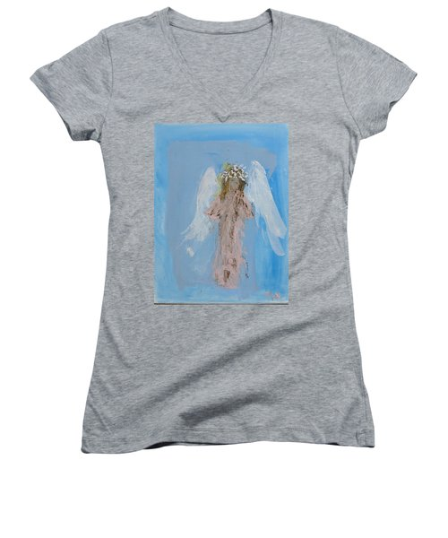 Angel With A Crown Of Daisies Women's V-Neck