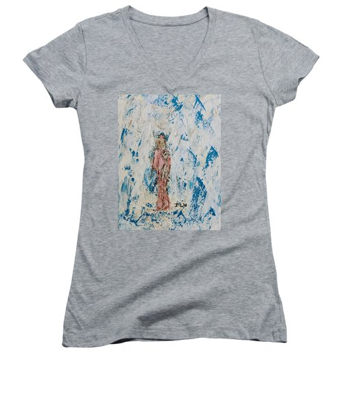 Angel With Her Pet Goat Women's V-Neck